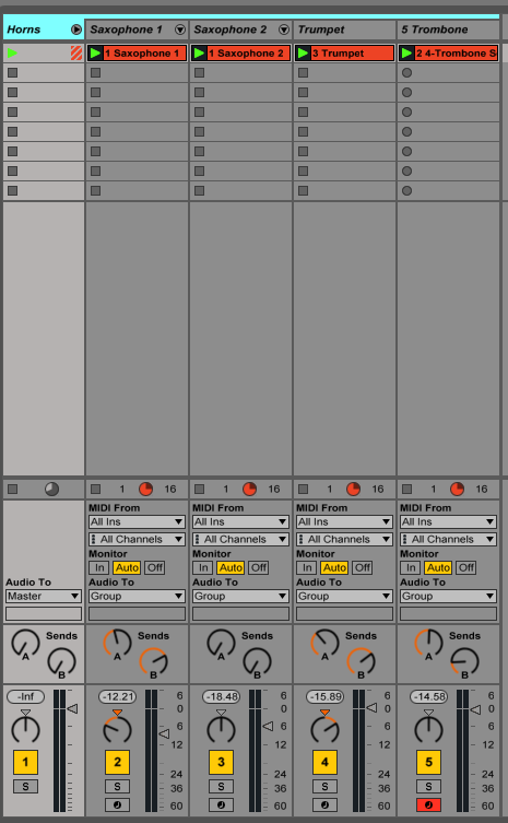 Creating track groups in Ableton Live