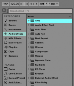 How to use the Ableton Live AMP and CABINET audio effects