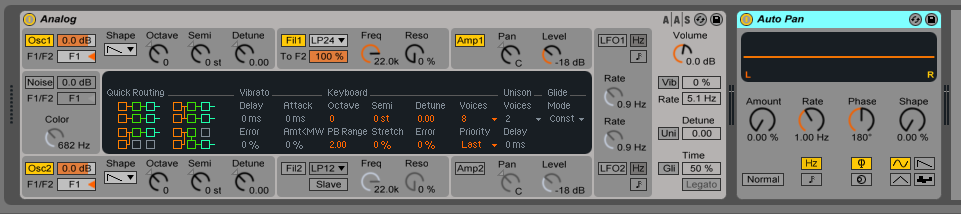 How to use the Ableton Live AUTO PAN audio effect