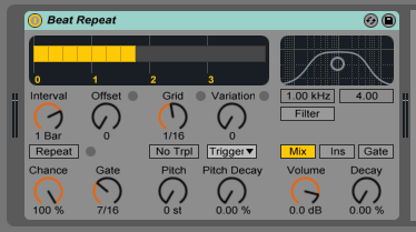How to use the Ableton Live BEAT REPEAT audio effect