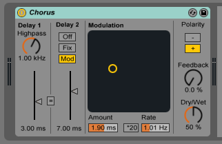 How to use the Ableton Live CHORUS audio effect