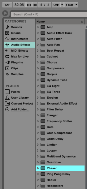 How to use the Ableton Live PHASER audio effect