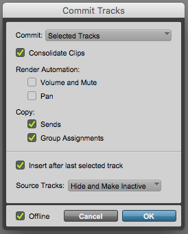 How to COMMIT a track in Pro Tools