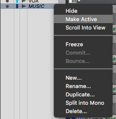How to make a track Inactive or Active in Pro Tools