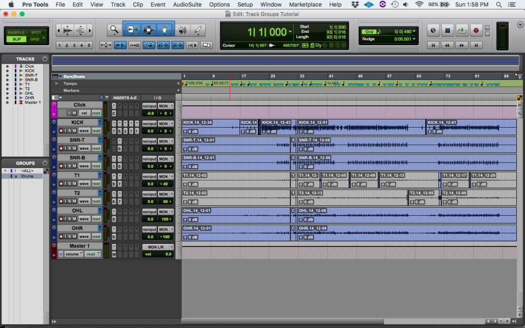 How to use Track Groups in Pro Tools