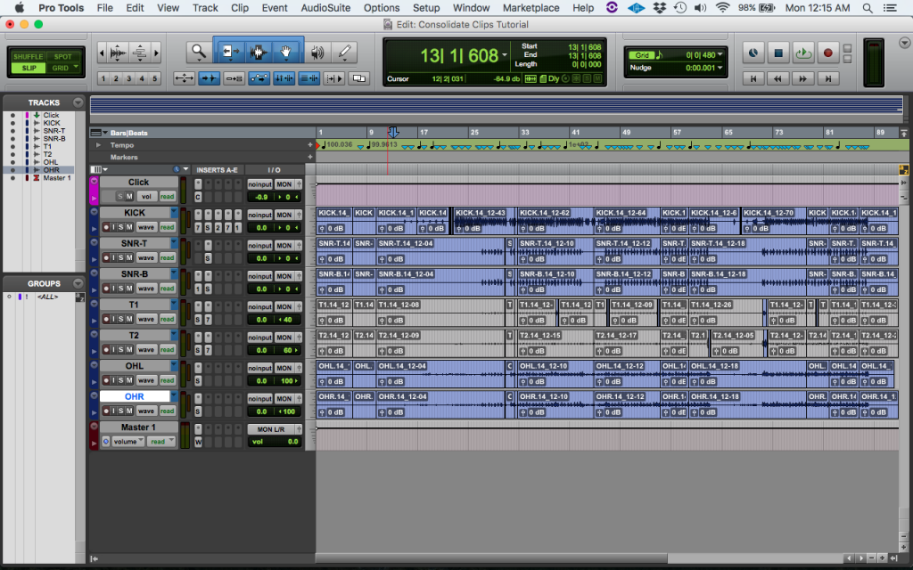 How to Consolidate clips in Pro Tools