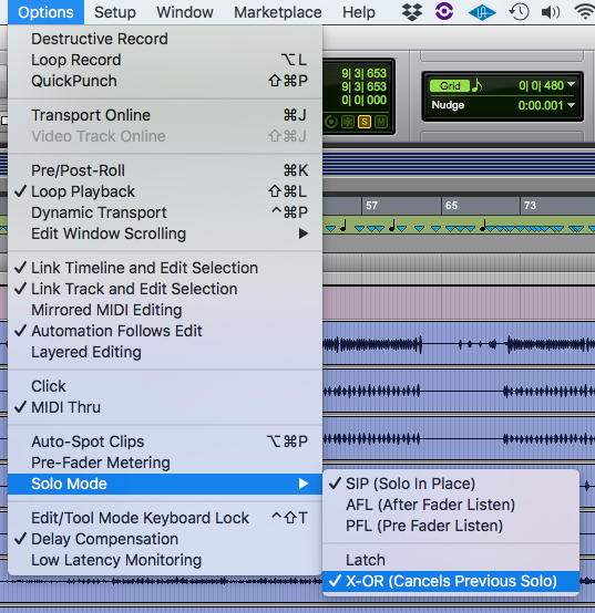 Solo Latch Options in Pro Tools