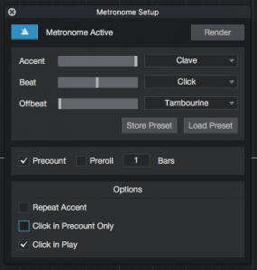 In-depth metronome configuration in Studio One 4