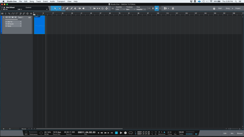 How to quantize MIDI in Studio One 4