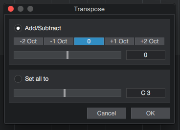 How to transpose MIDI in Studio One 4
