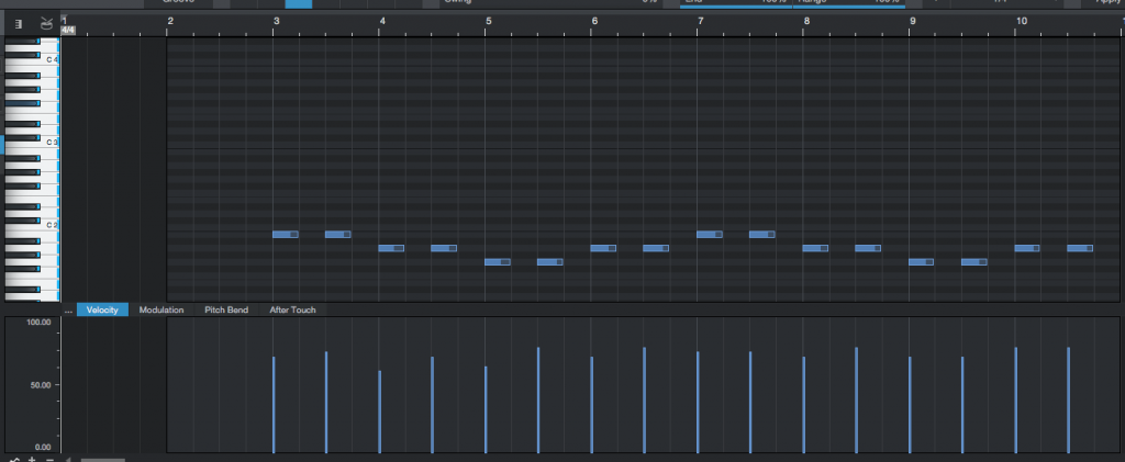How change the MIDI velocity of a group of notes in Studio One 4