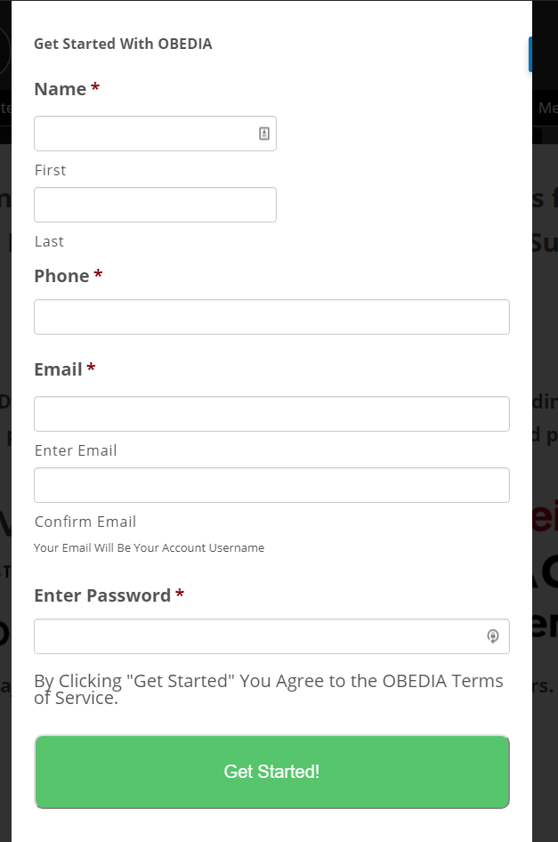 sign up with OBEDIA