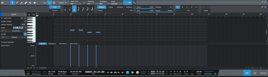 How to stretch a MIDI passage in Studio One 4