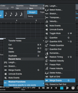 How to merge MIDI events in Studio One 4